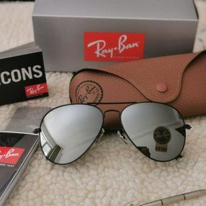 NEW Ray Ban Aviator Silver Mirrored Lens Sunglasses